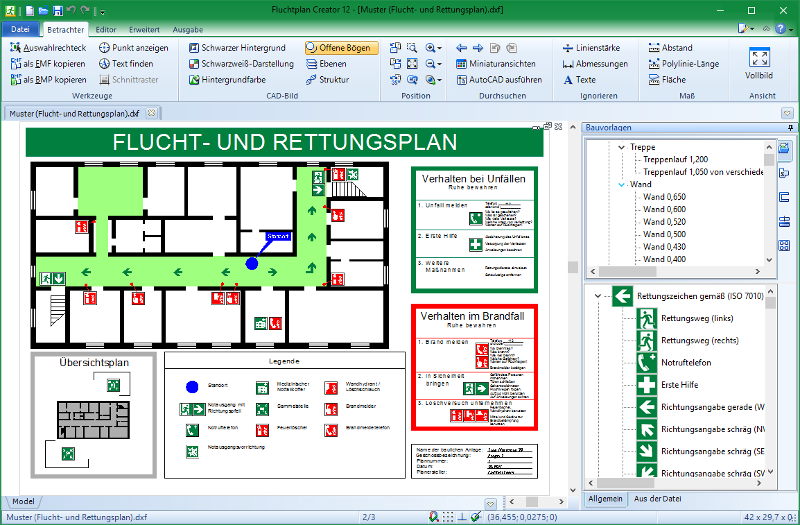 Escape plans creator (German DIN ISO 23601)