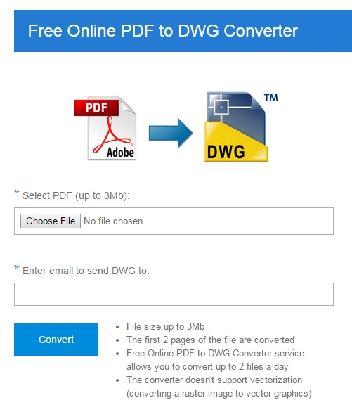 Free Online PDF to DWG Converter Screen shot