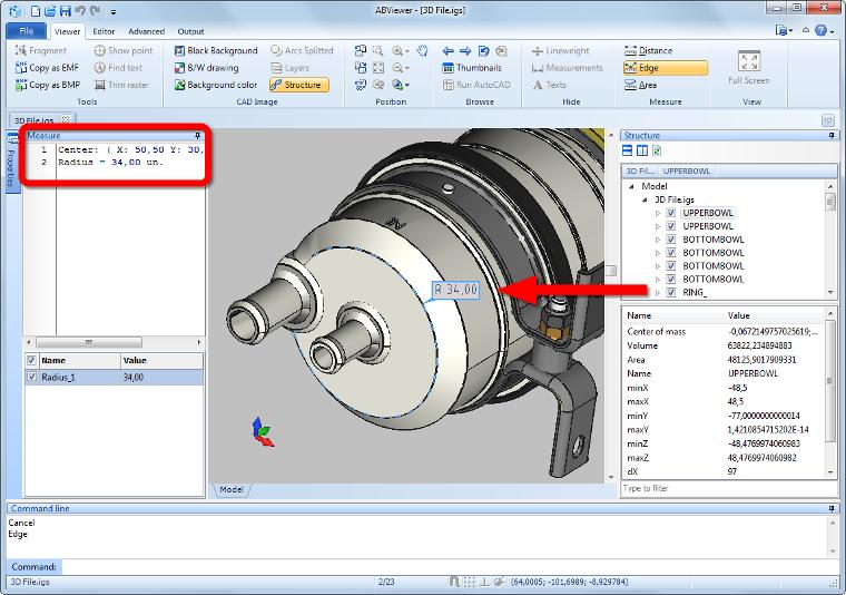 Measuring of 3D Models in STP, IGS, SAT, BREP Files